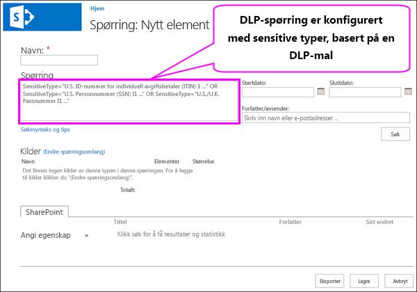 DLP-spørringen som inneholder sensitiv informasjonstyper