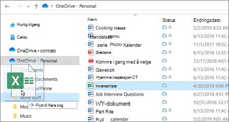 Bilde av flytting av fil til en annen mappe i OneDrive.