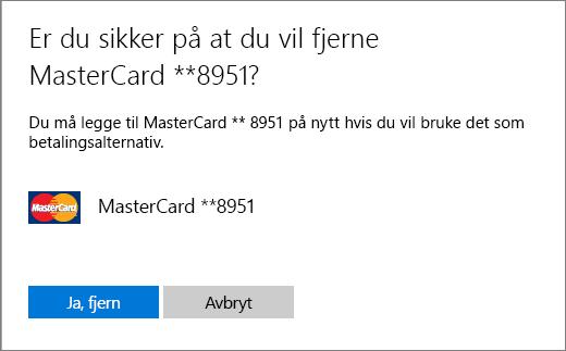 Bekreftelsessiden for å fjerne kredittkort.