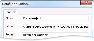 Dialogboksen Datafil for Outlook