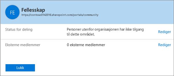 Delingsstatus-dialogboksen for en bestemt områdesamling med deling deaktivert.