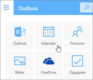 Et skjermbilde som viser Kalender-flisen valgt.