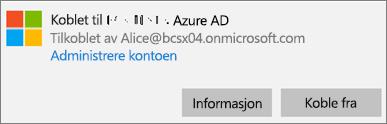 Klikk eller trykk på Informasjon i dialogboksen Tilkoblet Azure AD.