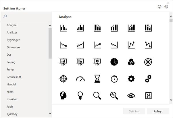 Du kan velge et ikon du vil sette inn fra ikonbiblioteket i Office