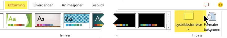 Knappen for lysbilde størrelse er helt til høyre på utforming-fanen på verktøy linje båndet