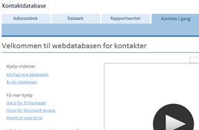skjerm for å komme i gang for mal for kontaktdatabase