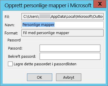 Hvis du ikke vil passordbeskytte .pst-filen, velger du OK.