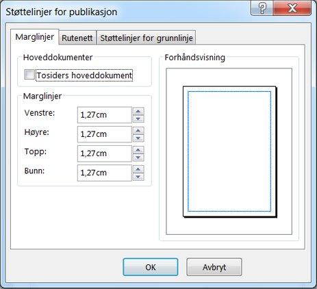 Dialogboksen Støttelinjer for publikasjon i Publisher