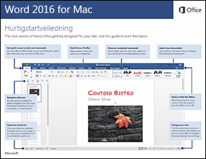 Hurtigstartveiledning for Word 2016 for Mac
