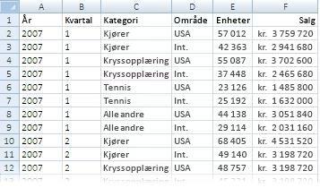 Data som er brukt i en pivottabellrapport
