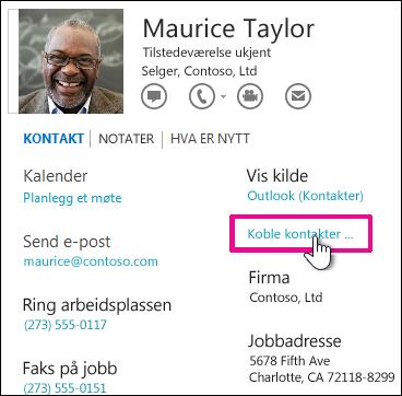 Knappen Koble kontakter i kontaktkortet
