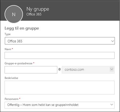 Opprette en ny Office 365-gruppe, en ny distribusjonsliste eller en ny sikkerhetsgruppe