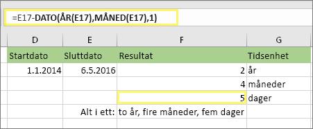 """=DATODIFF(D17,E17,""""md"""") og resultat: 5"""