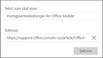 Skjermbilde av dialogboksen for å legge til en hypertekstkobling i OneNote for Windows 10.