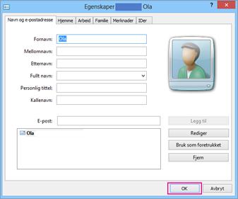 Velg OK for hver kontakt du vil importere til csv-filen.