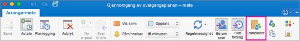 Outlook-båndet med Romsøker- knappen uthevet