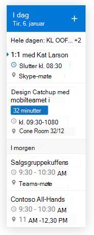 Endre størrelsen på miniprogrammet for e-post