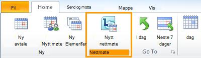 Nytt nettmøte-knappen i Outlook-kalenderen