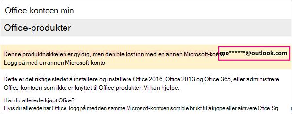 Siden Min Office-konto viser delvis Microsoft-kontoen