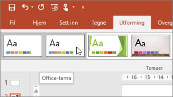 Skjermbilde av Office-temaet på Utforming-fanen