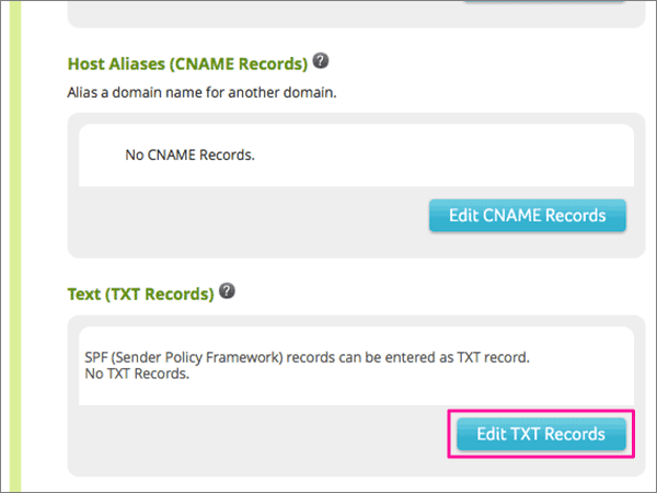 Klikk Edit TXT Records under tekst