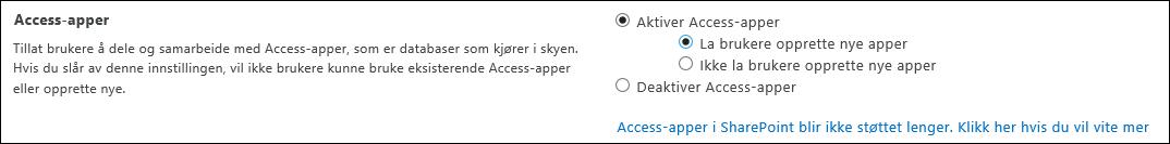 Skjermbilde av Access-appinnstillinger på siden for SharePoint-administrasjonssenteret