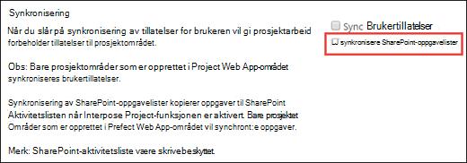 Synkronisere SharePoint-oppgavelister