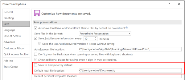 Et skjerm bilde av dialog boksen alternativer for PowerPoint som uthever inndelingen for å tilpasse standard plasseringen