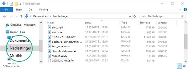Den konverterte filen kopieres til nedlastingsmappen på datamaskinen