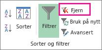 Knappen Fjerne et filter