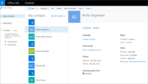 Når du har importert kontakter, ser de slik ut i Outlook på nettet.