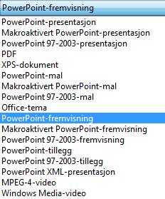 Lagre presentasjonen som en PowerPoint-fremvisning.