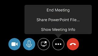 Avslutt møte-kommandoen på menyen flere alternativer (...)
