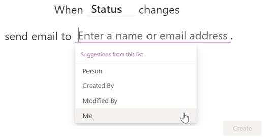 Skjermbilde av å fullføre en regel for å varsle deg selv når Status-kolonnen endres.