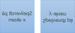 Et eksempel på speilvendt tekst: den første er rotert 180 grader på X-aksen, og den andre er rotert 180 grader på Y-aksen