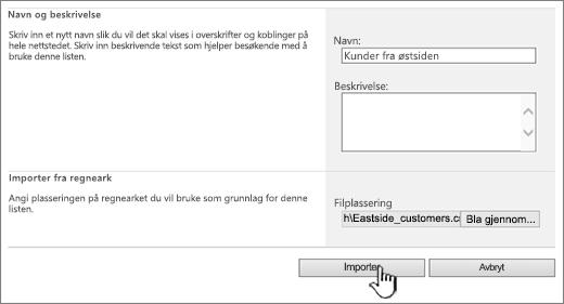 Opprett Importer regneark-dialogboks med Import uthevet