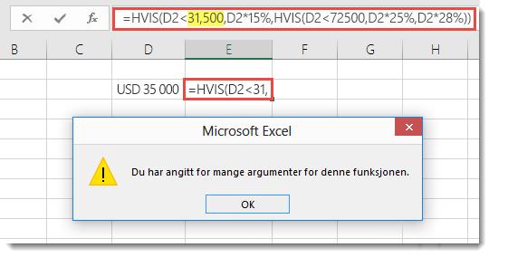Excel-melding når du legger til komma til en verdi