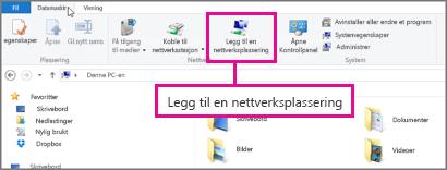 Velg Legg til en nettverksplassering