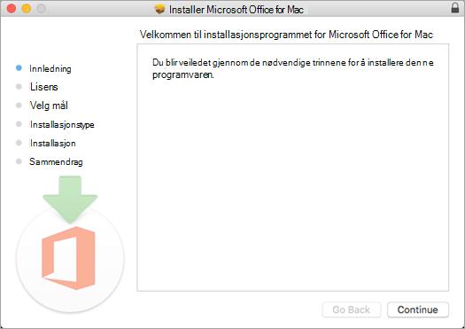 Første skjermbilde av Mac 2016-installasjon der Fortsett er fremhevet