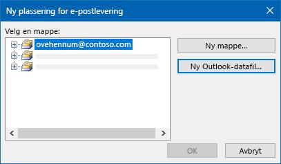 Dialog boksen plassering for levering av Outlook e-post