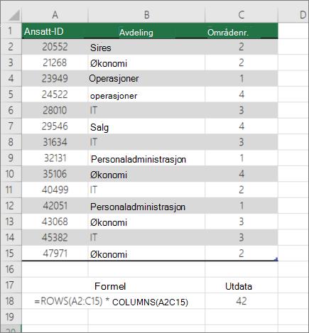Eksempel på rader og kolonner-funksjonen til å telle antall celler i et område