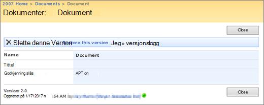 Vise en dialogboks for versjon