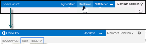 Velg OneDrive på SharePoint for å gå til OneDrive for Business i Office 365