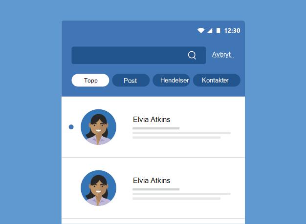 Viser søkeresultater i Outlook