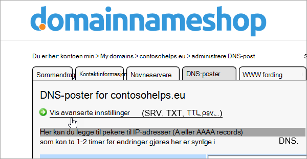 Vis avanserte innstillinger for DNS-post i Domainnameshop