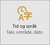 Innstillinger for Tid og språk i Windows 10