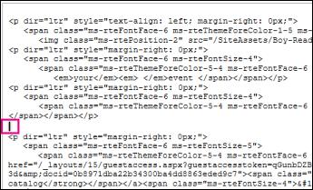 Markør som angir innsettingspunktet for ny kode