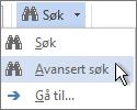 Avansert Finn-alternativ på Finn-menyen