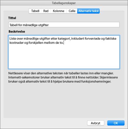 Skjermbilde av Alternativ tekst-fanen i dialogboksen Egenskaper for tabeller, som beskriver den valgte tabellen
