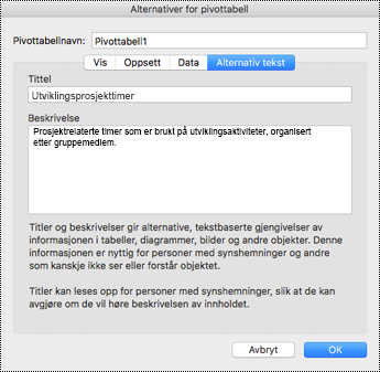 Dialogboks for alternativ tekst i en Excel-pivottabell.